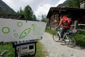 Postazione di bike sharing in Val D'Aosta