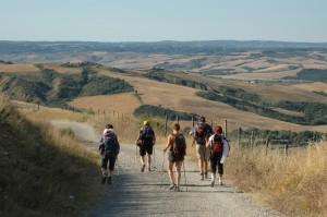 Viandanti sulla Via Francigena